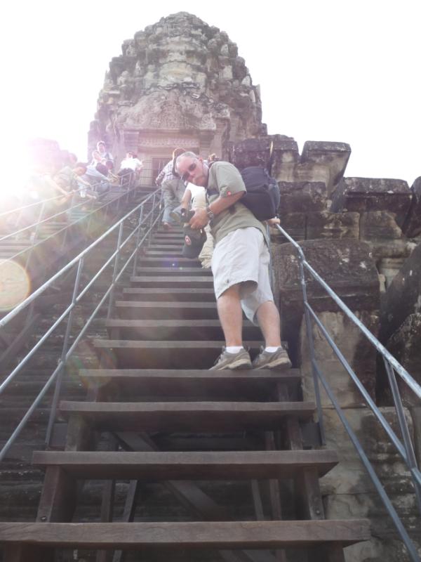 Climbing the Central Tower or Bakan at Angkor Wat