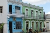 Colourful buildings in Plaza de los Trabajadores, Camaguey