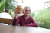 """Thea with a very generous mug of wine at the at the """"Two Mary's"""" restaurant, Cesky Krumlov"""