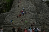 A very steep climb of the Nohoch Mul pyramid. Ancient Ruins of Coba