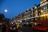 Brompton Road Christmas lights at dusk