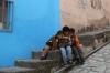 Three little boys and a new book, in Guanajuato