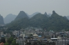 View of Guilin from Fubo Hill, Guilin, China, including our hotel with green roof