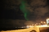 Aurora Borealis and the Imagine Peace Tower memorial to John Lennon, over Reykjavik Bay