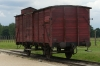 Symbolic train on the railway into Birkenau PL