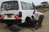 Helping a breakdown on the rough raod out of Masaimara, Kenya
