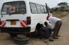 Helping a breakdown on the rough raod out of Masaimara, Kenya