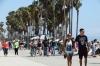 Saturday crowd on Venice Beach boardwalk