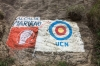 Political messages are painted onto every bit of rock. Elections in September 2015