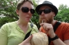 Ev & Steph enjoy coconut juice in San Francisco