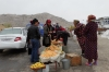 Selling local produce, including Forest Apples. On the road from Samarkand to Bukhara