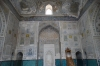 Mirhab (pointing to Mecca) and Minbar (steps) in the mosque. Dorut-Tilovat Complex