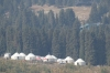 """Yurt camps """"for the Chinese"""" at the Heavenly Lake near Urumqi"""