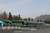 Lines of shuttle buses, Heavenly Lake near Urumqi