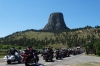 Bikers queuing to visit Devil's Tower