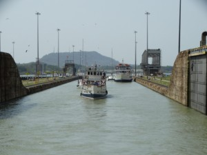 Moving from first lock to second lock of the Panama Canal. Each lock rises 25 feet.